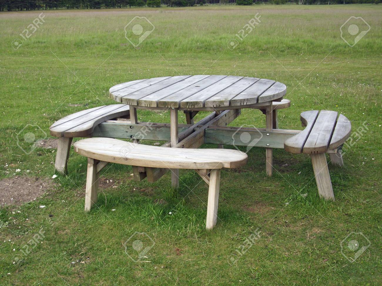 Round Wooden Picnic Table Stock Photo Picture And Royalty Free Image Image 49671032