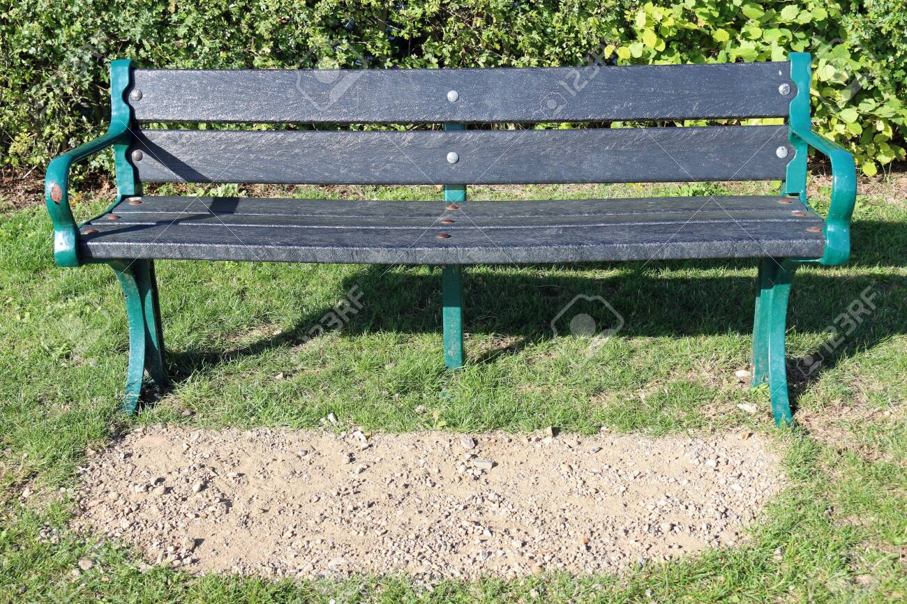 Picture of: Green Metal Framed Black Recycled Plastic Park Seat On A Mown Stock Photo Picture And Royalty Free Image Image 139121761