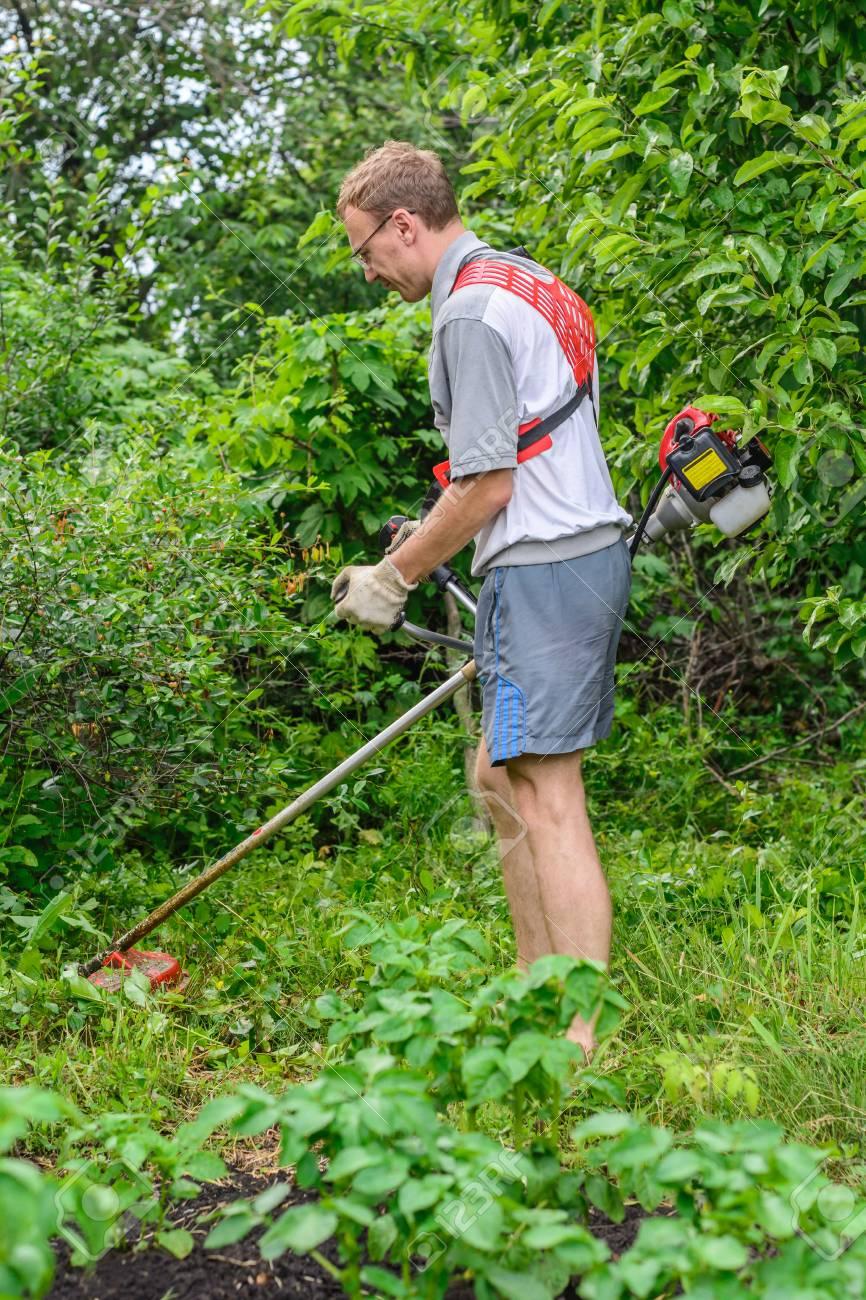 Gärtner Mäht Das Unkraut In Meinem Garten Lizenzfreie Fotos Bilder