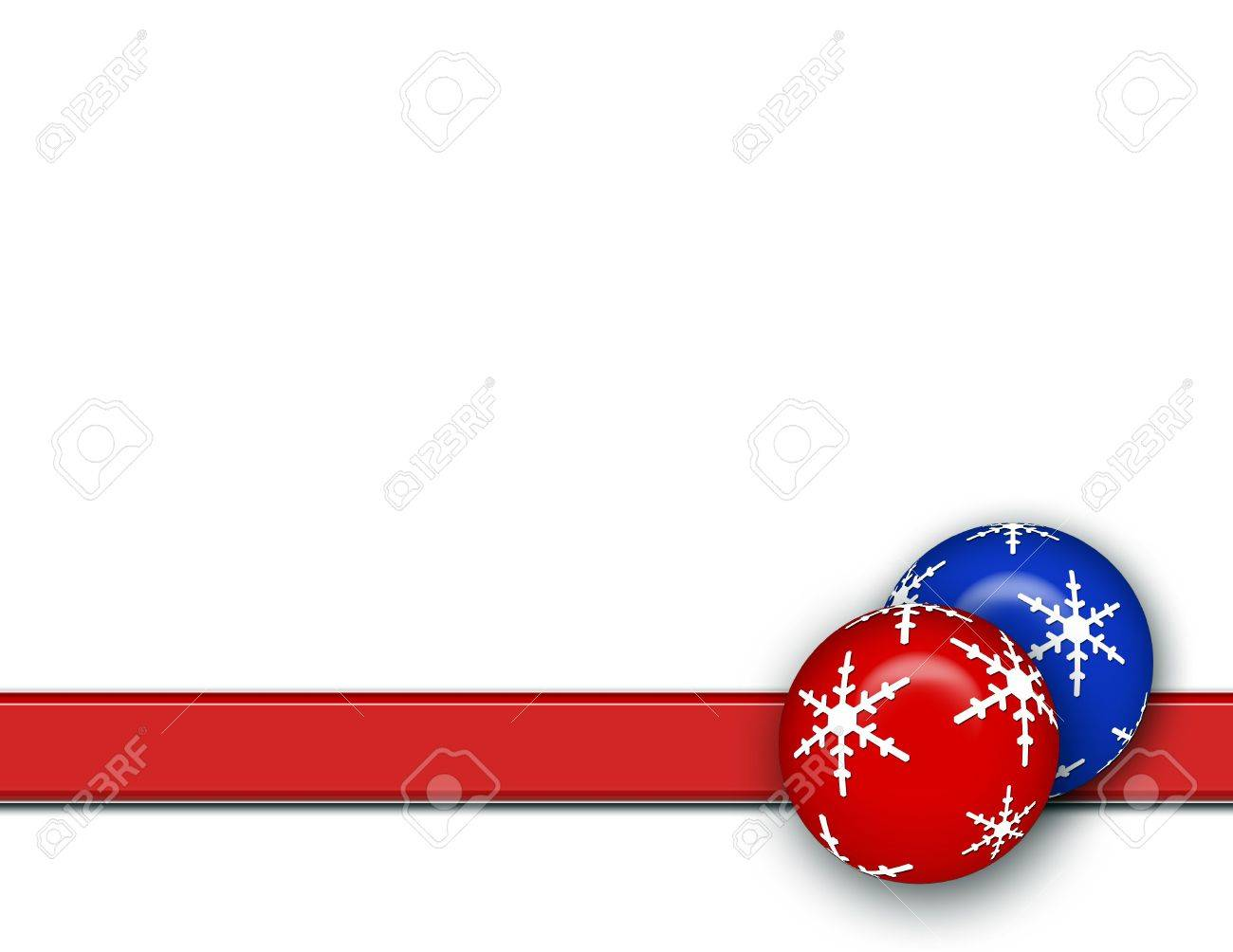 Red white and blue christmas ornaments - Christmas Background With Blue And Red Ornaments Stripe And White Area For Text Stock