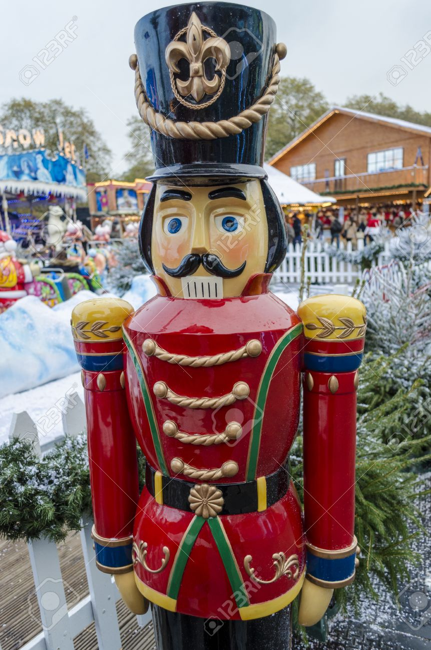 a lifesize toy soldier in a wintery christmas setting stock photo - Outdoor Toy Soldier Christmas Decorations