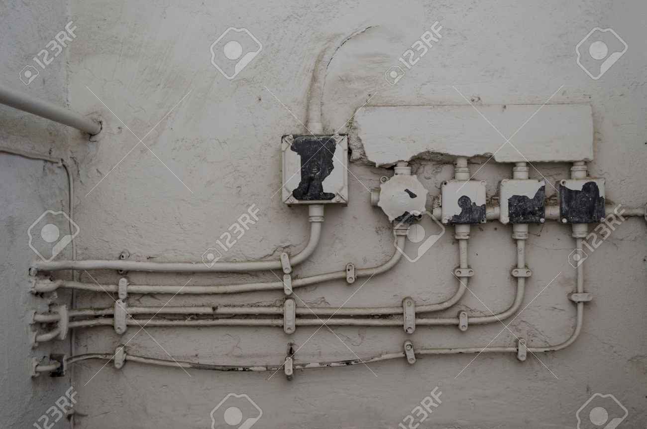 Old Fashioned Electrical Trunking And Junction Boxes Stock Photo ...