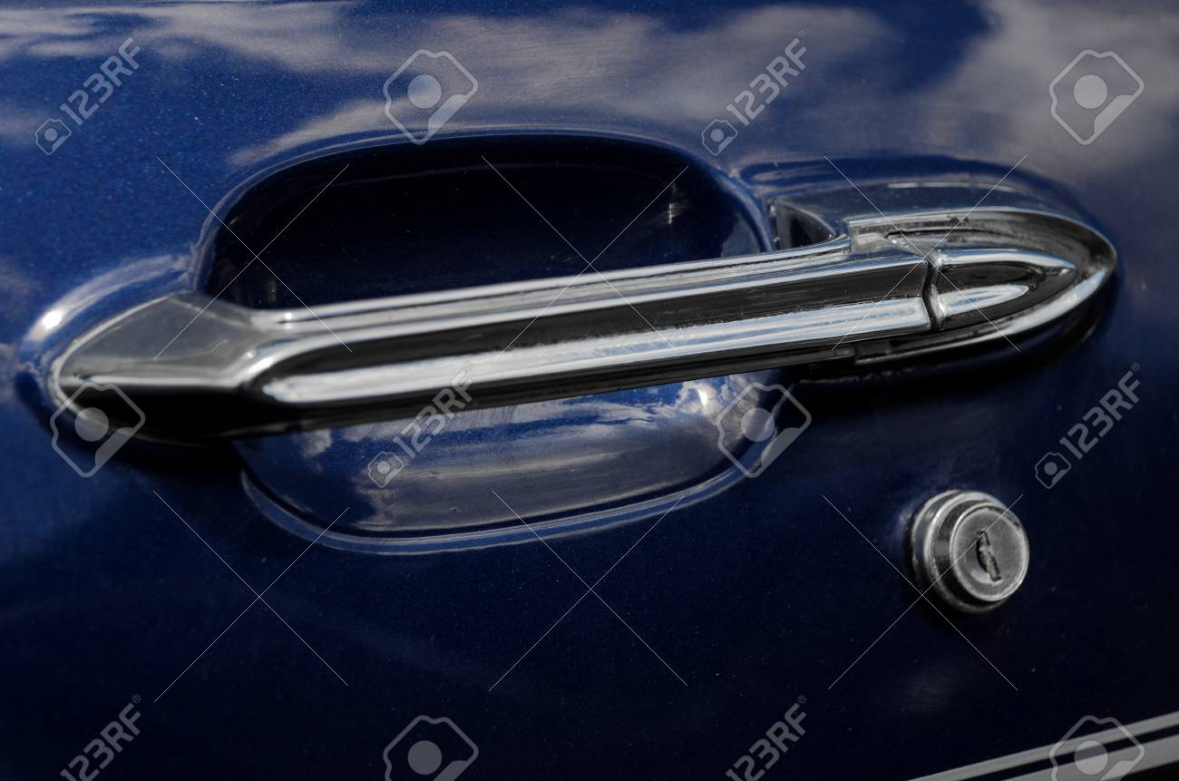 Close view of a classic car door handle Stock Photo - 87630414 - Close View Of A Classic Car Door Handle Stock Photo, Picture And