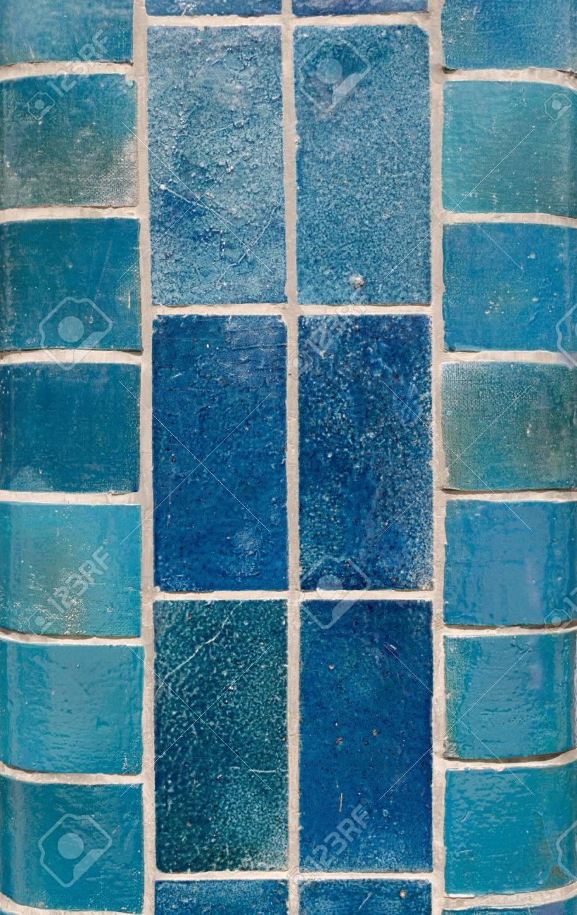 Blue Ceramic Tiles On A Column In Different Shades Including.. Stock ...