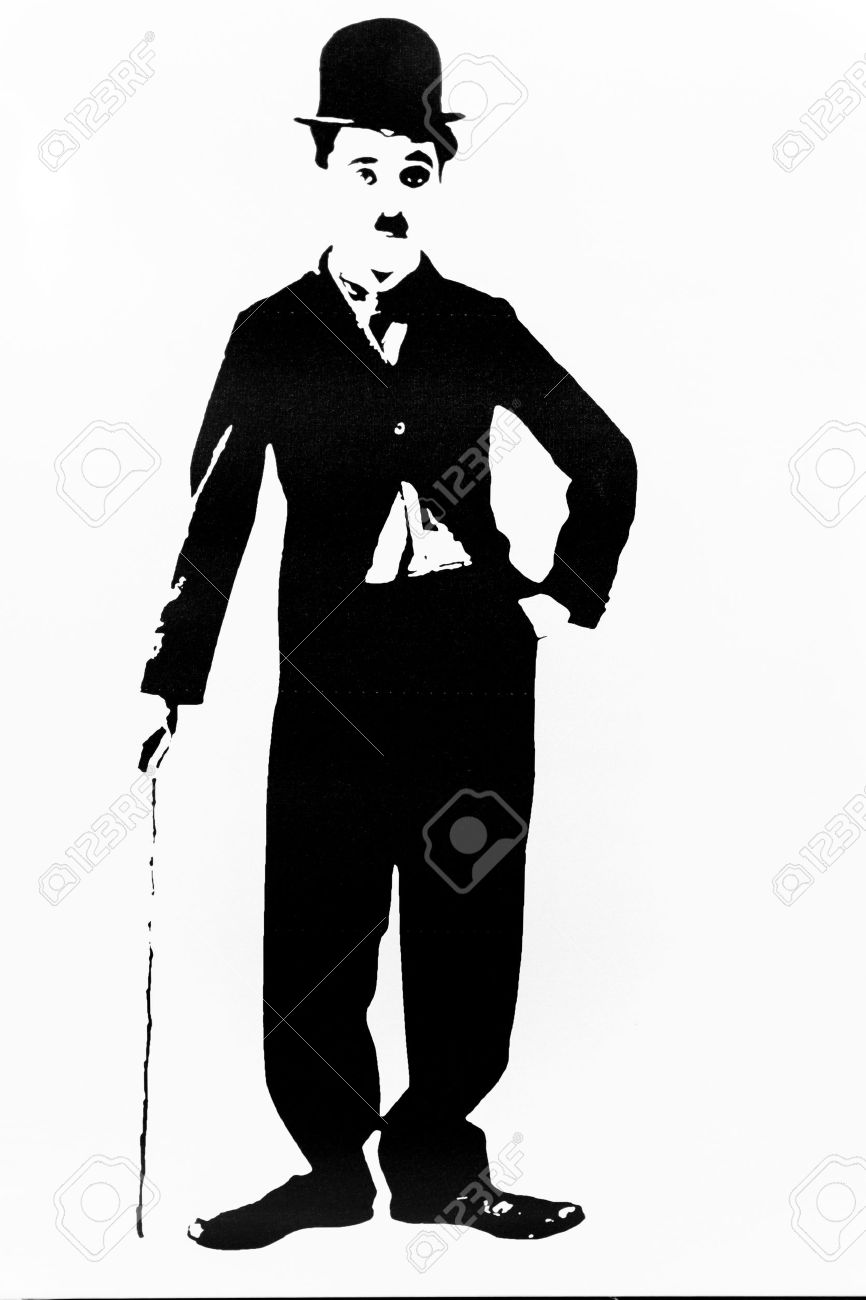 Simple silhouette of the film actor Charlie Chaplin - 40298907