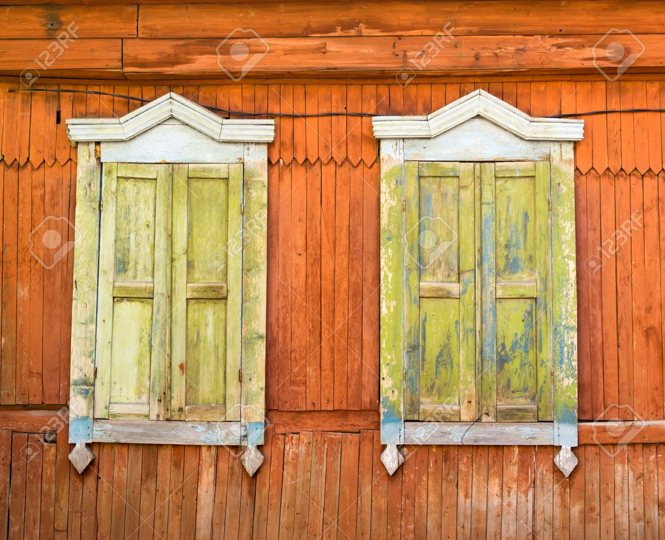 Old Weather Worn Antique Russian Window Frames With Fading Paint ...