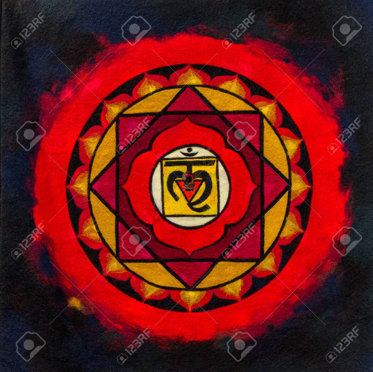Bright red and black indian ohm image on material - 41555399