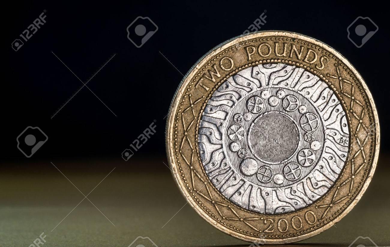 Studio Makroaufnahme Eines Englischen Zwei Pfund Münze In