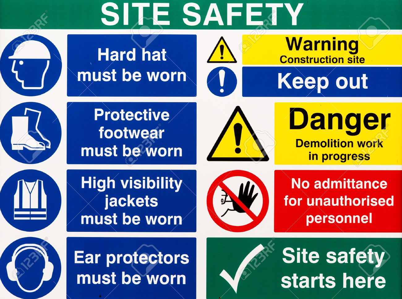 Brightly colored building site safety warning signs - 45324927