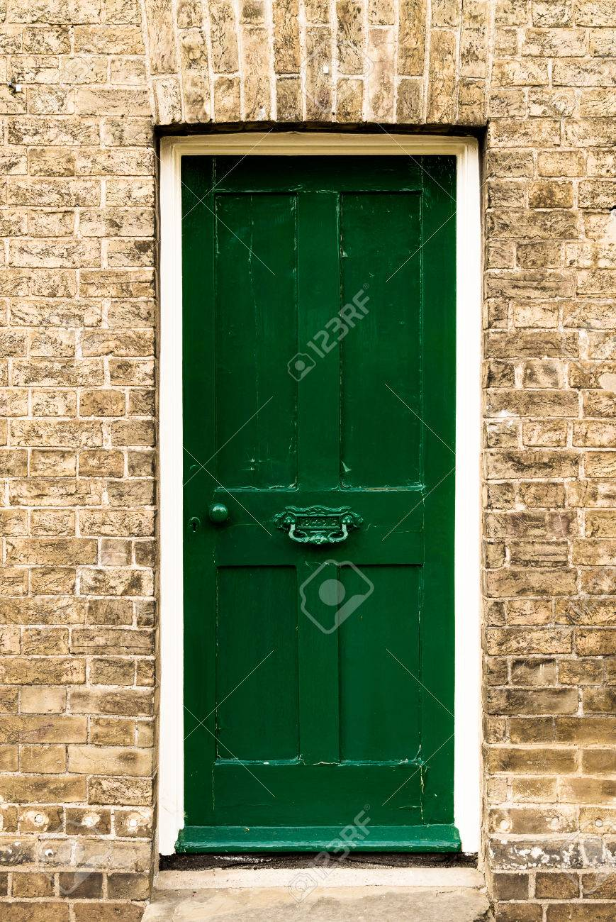 Single Green Painted Wooden Residential Front Door Set In A ...
