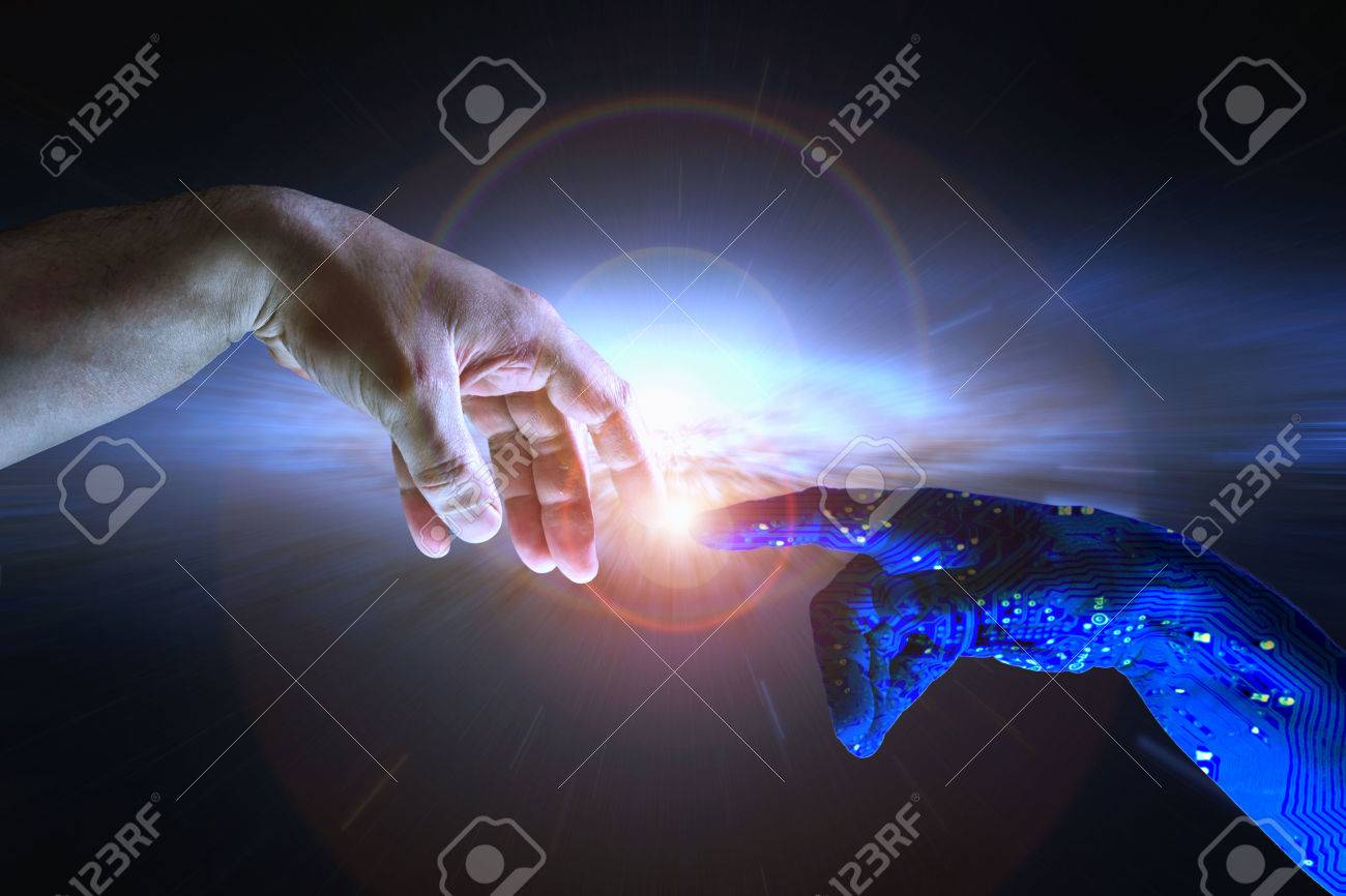 AI hand reaches towards a human hand as a spark of understanding technology reaches across to humanity. Artificial Intelligence concept with copy space area. Blue flesh image. - 54659249