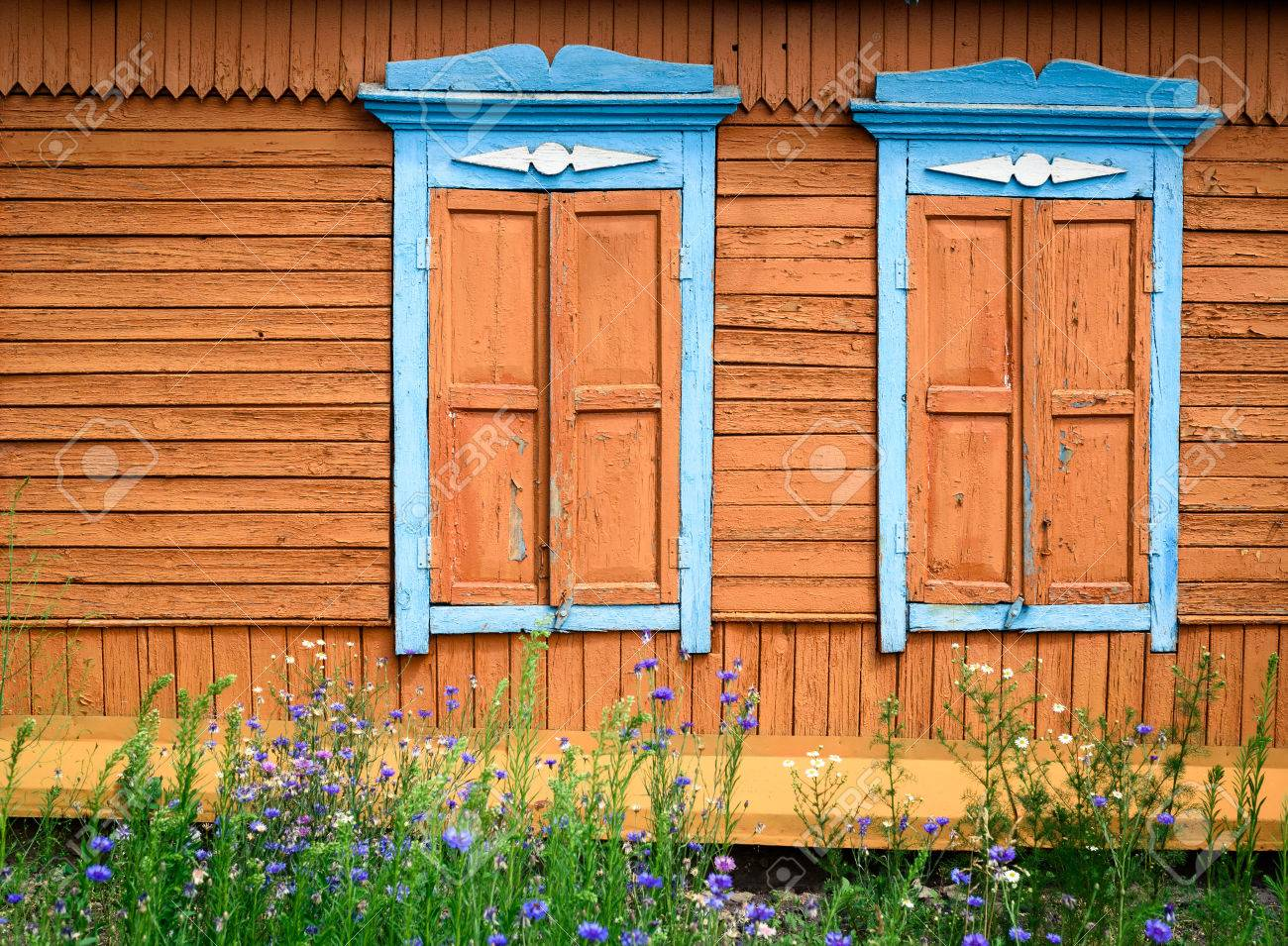Two Ornate Hard Carved Wooden Window Frames In Blue Paint With ...