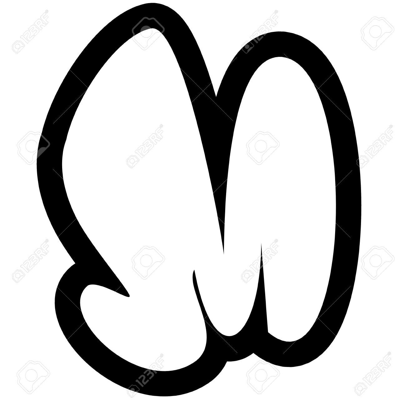 d79734bb6935 Foto de archivo - Línea blanco y negro más grande de procesamiento de  graffiti alfabeto burbuja fuente m