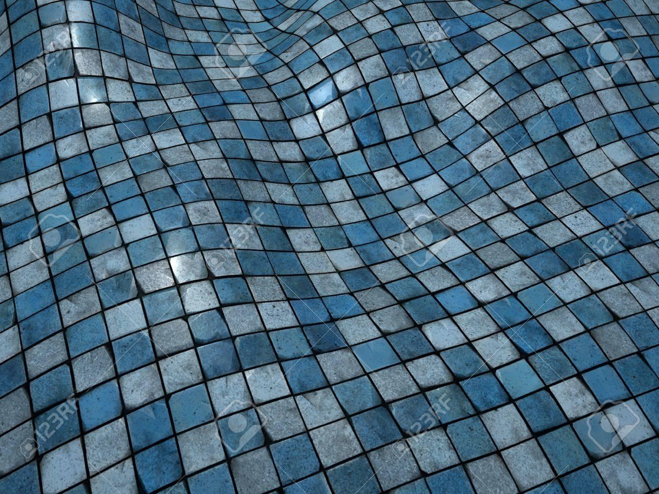 3d Render Blue Wobble Mosaic Tile Floor Wall Surface Stock Photo ...