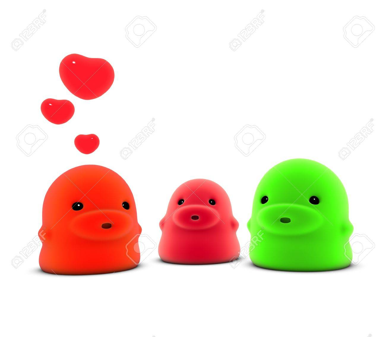 3d render of 3 little monster creature in love over white Stock Photo - 10798607