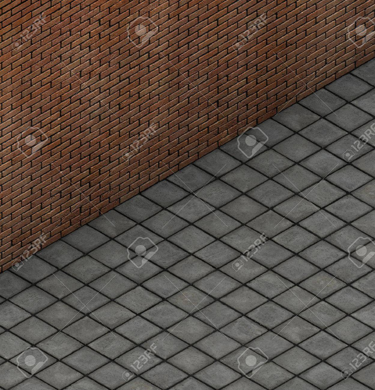 Isometric 3d Render Top View Of Brick Wall With Tile Pavement Stock Photo