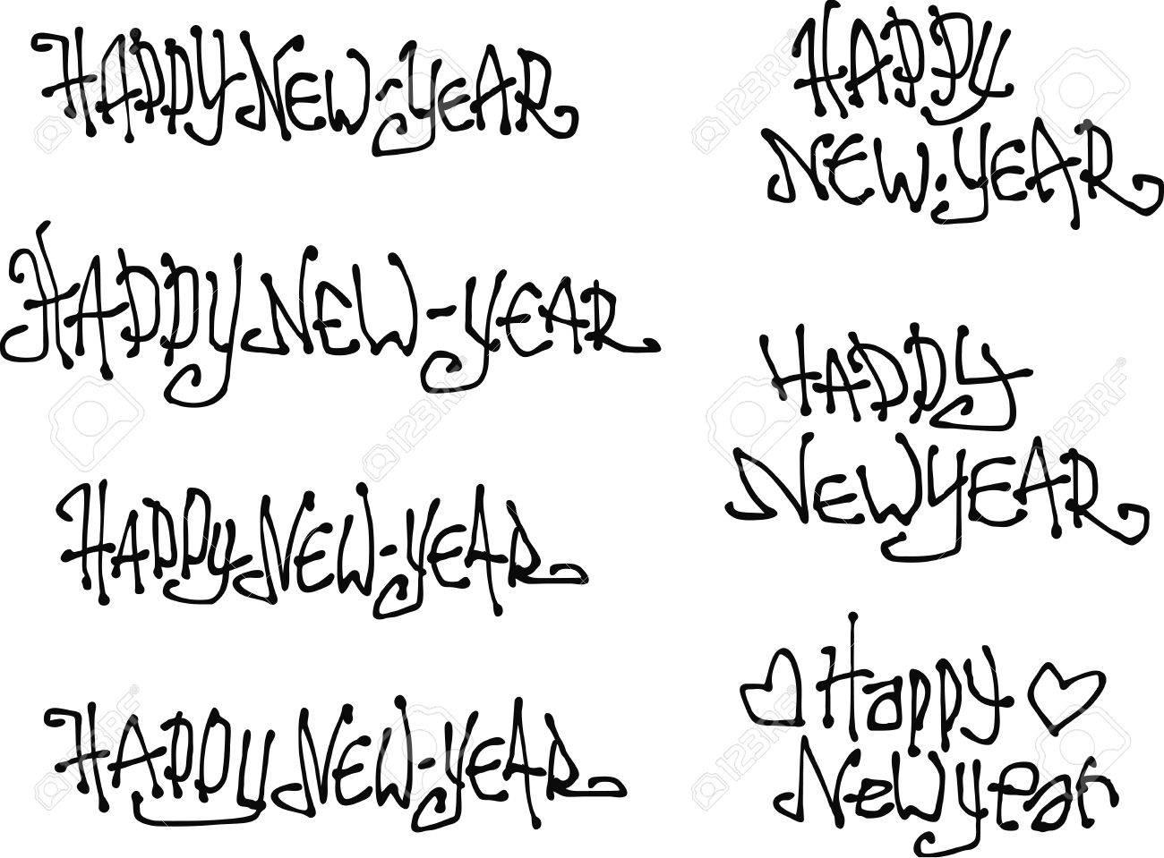 Happy New Year Wish Hand Drawn Liquid Curly Graffiti Fonts Royalty ...