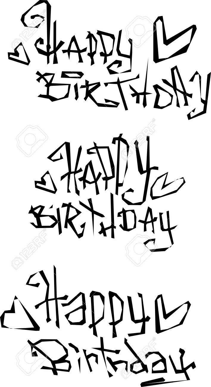 Happy Birthday Wish Cut Out Liquid Curly Graffiti Fonts Stock Vector