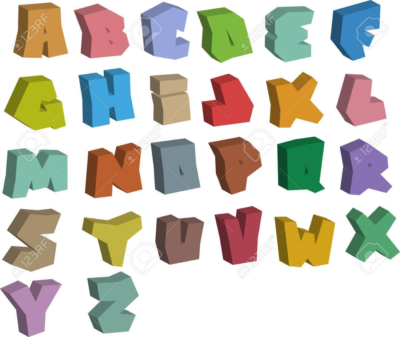 3d Graffiti Farbe Schriftarten In Weiss Alphabet Lizenzfrei Nutzbare