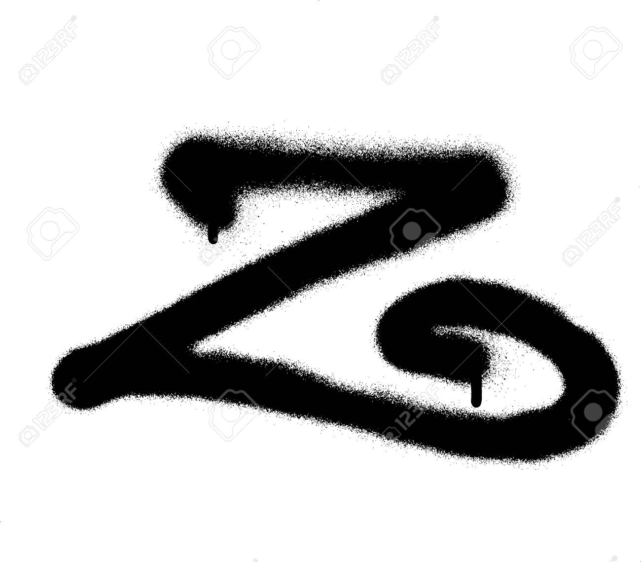 Sprayed curly z font graffiti with leak in black over white stock vector 83221141