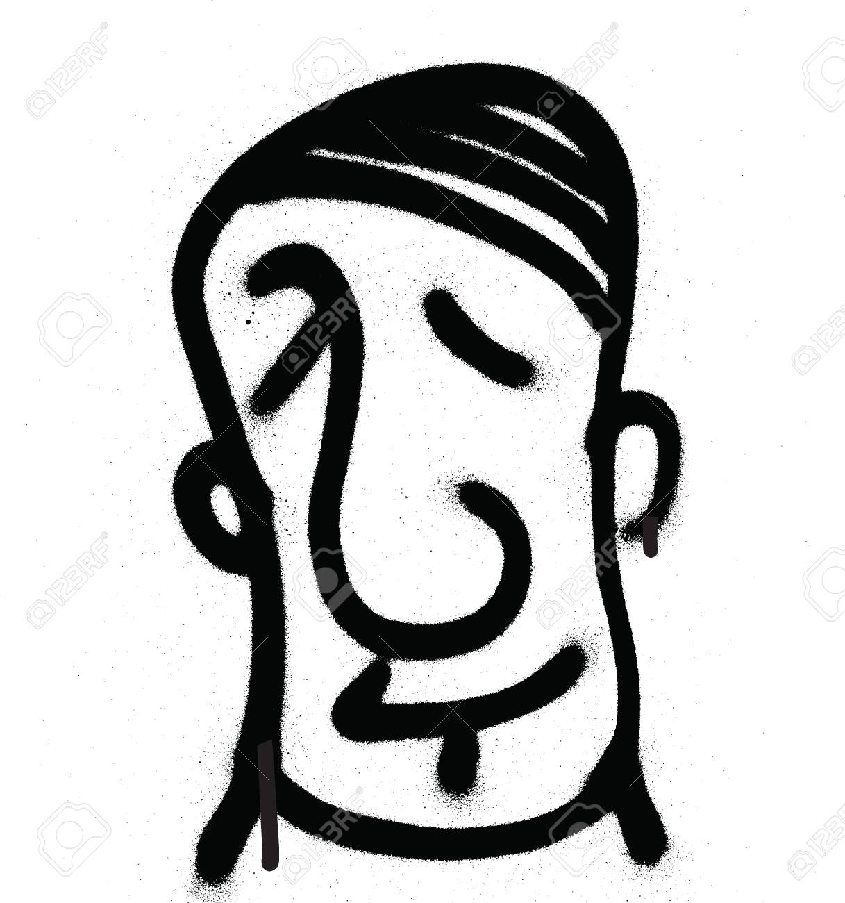 Graffiti Character Sprayed In Black On White Vector Image