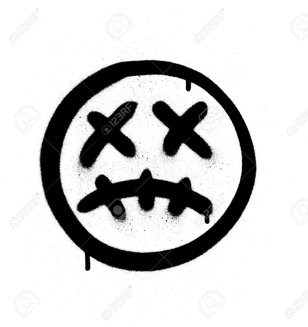 Graffiti scary sick emoji sprayed in black on white stock vector 83305732