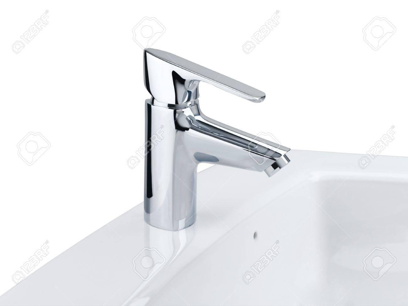 Schones Design Der Verchromten Wasserhahn Und Weisse Waschbecken