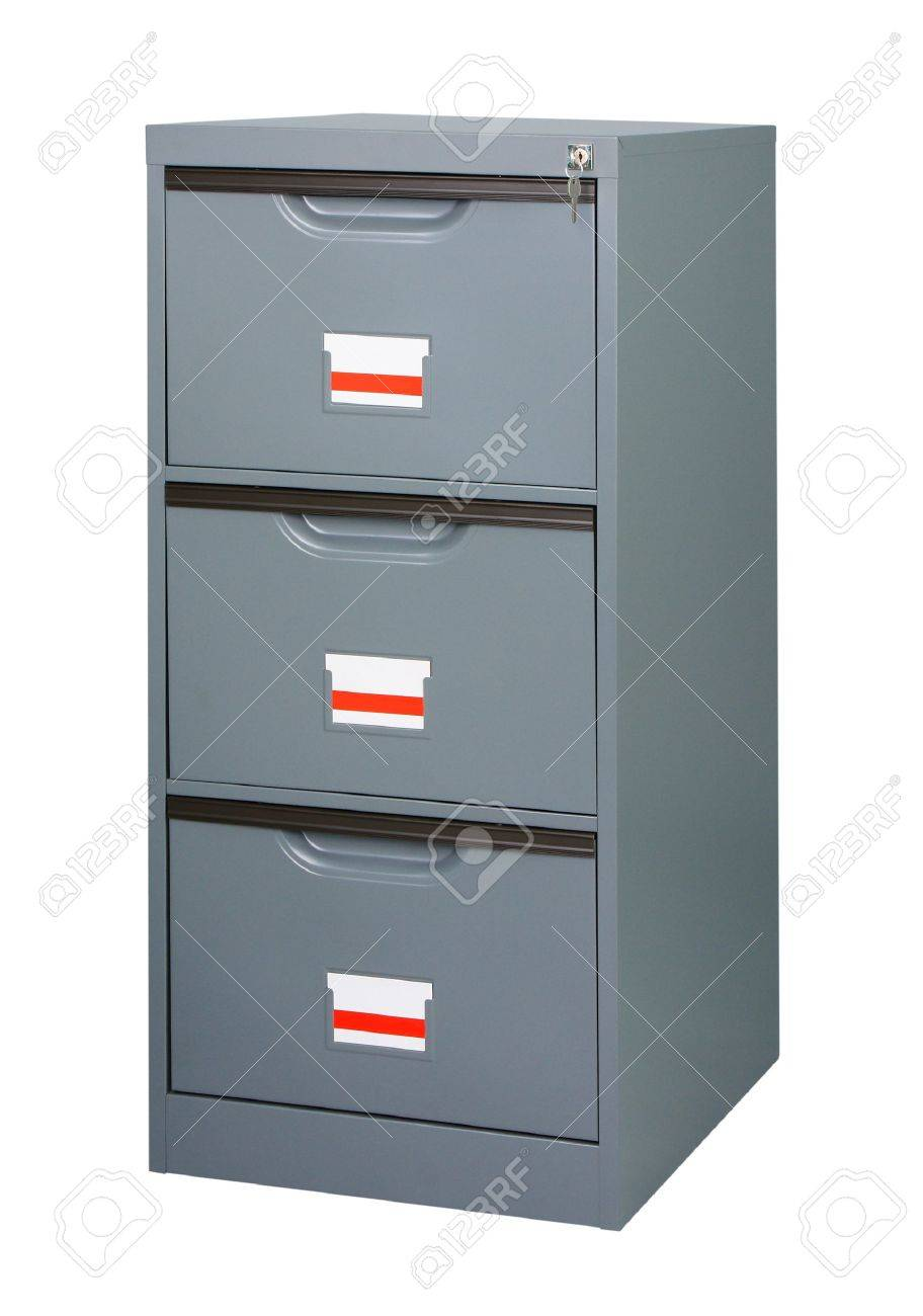 Closet or cabinet stainless steel furniture with big drawers to storage your documnets Stock Photo - 15671379