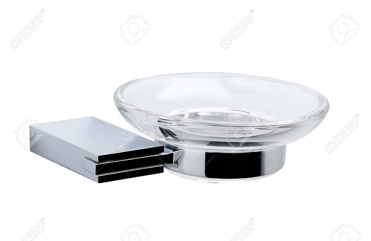 Aluminum chrome soap holder isolated Stock Photo - 15671465