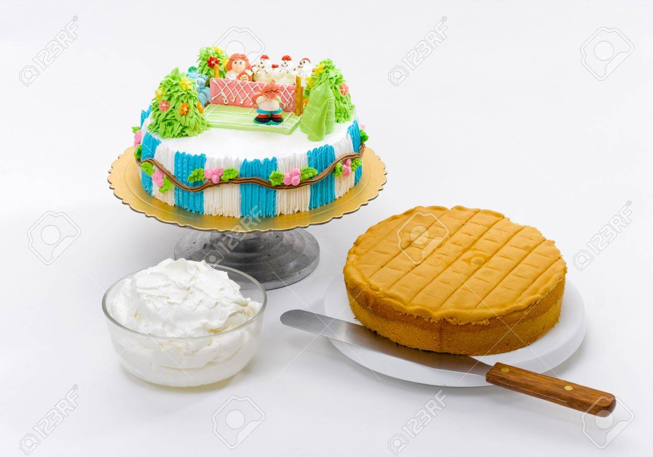 Fancy And Eatable Cake With Raw Material Prepare For Learning To Do Cake Step By Step
