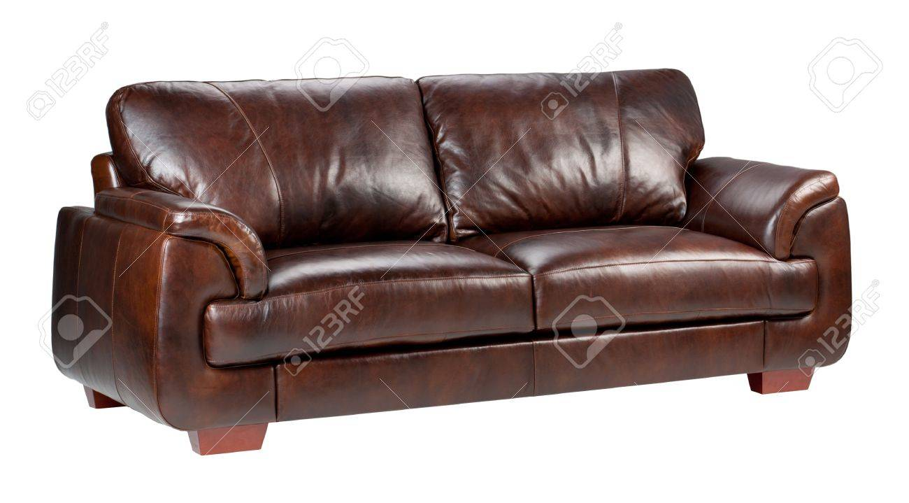 Brown Luxus Leder Sofa Isoliert Auf Weißem Hintergrund Standard Bild    15732911