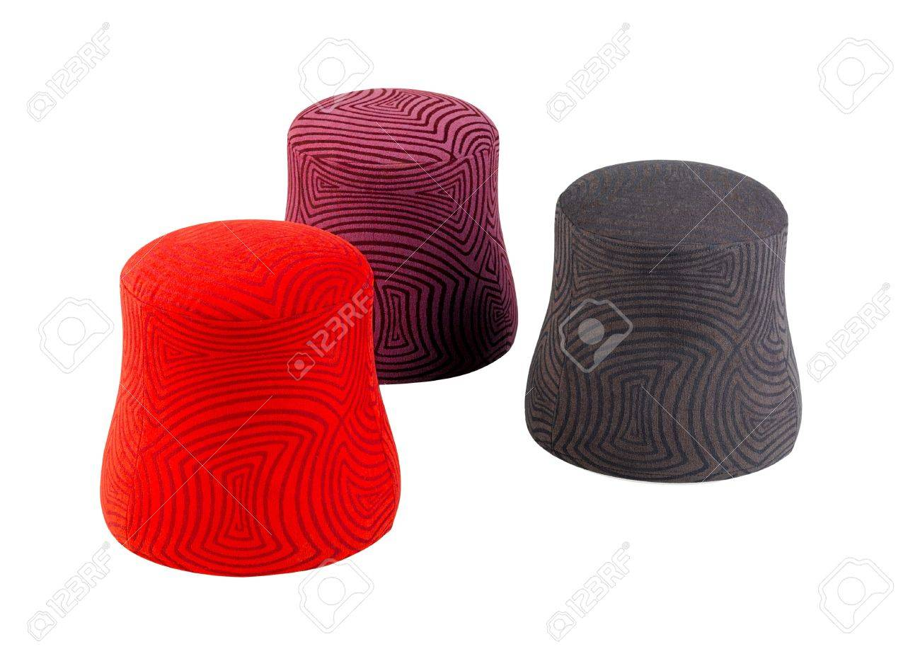 Red purple brown fabric stools in modern design isolated Stock Photo - 15821755