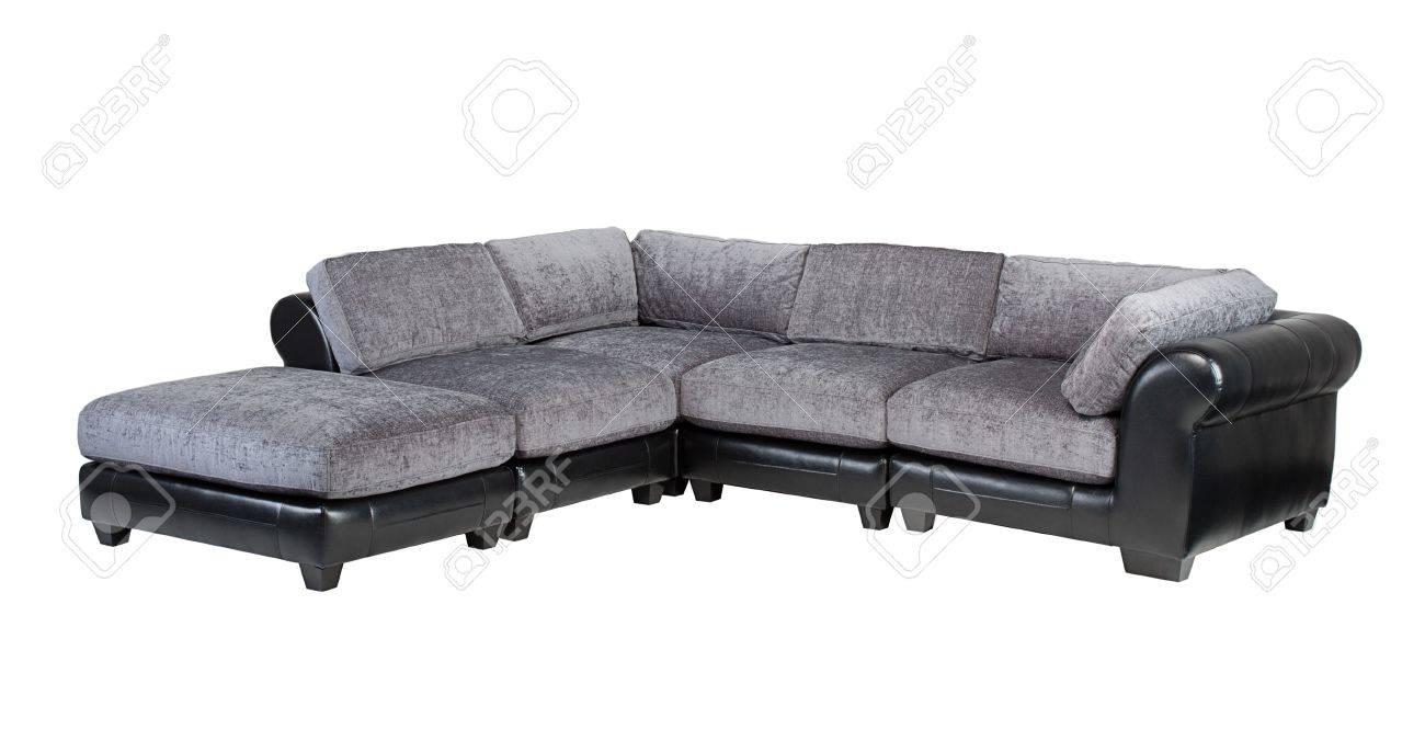 Graue Und Schwarze Leder Sofa Bank Isoliert Auf Weissem Hintergrund