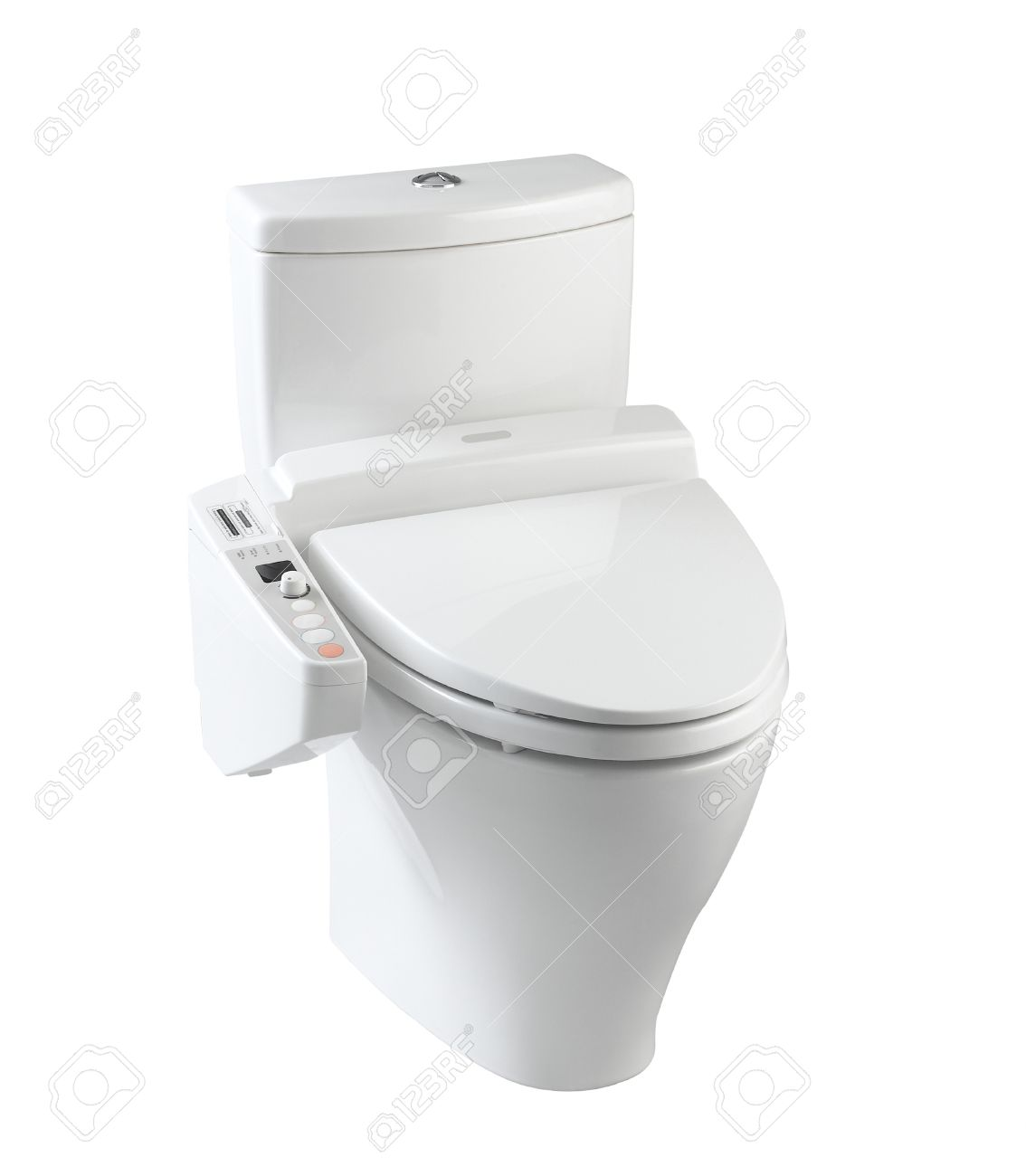 hygienic and high technology of the toilet bowl for modern  - hygienic and high technology of the toilet bowl for modern bathroom stockphoto