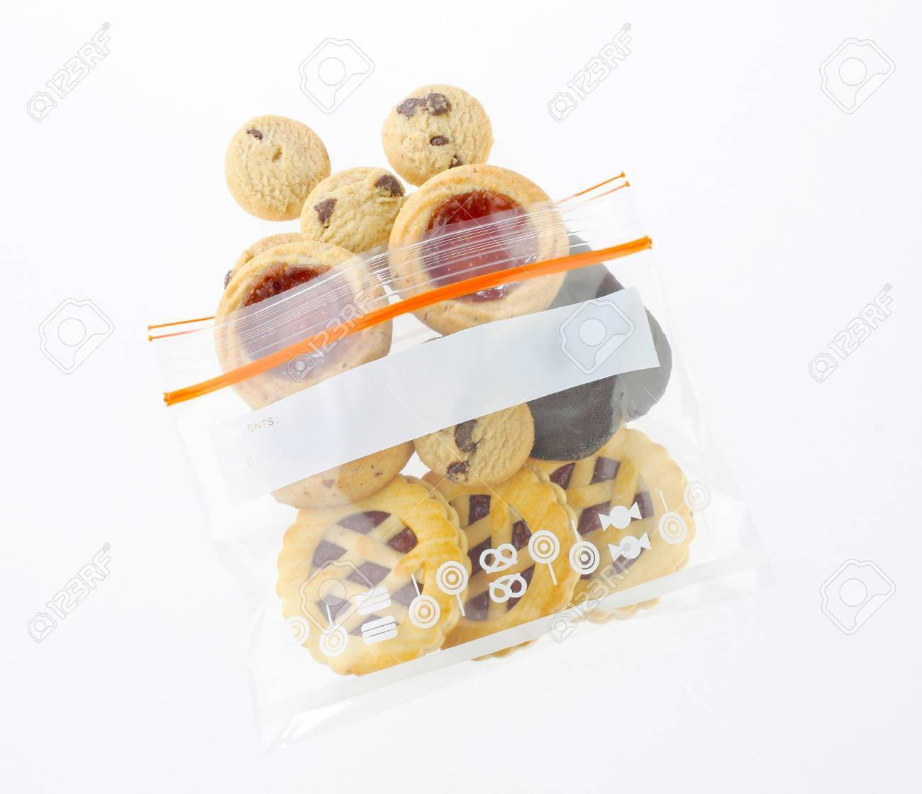 Mix eatable cookies in a safety zipper bag Stock Photo - 16654249