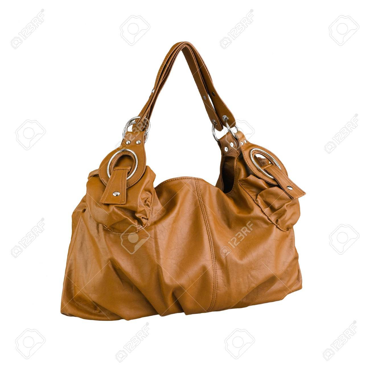 Nice and beautiful brown lady leather handbag isolated Stock Photo - 17584496
