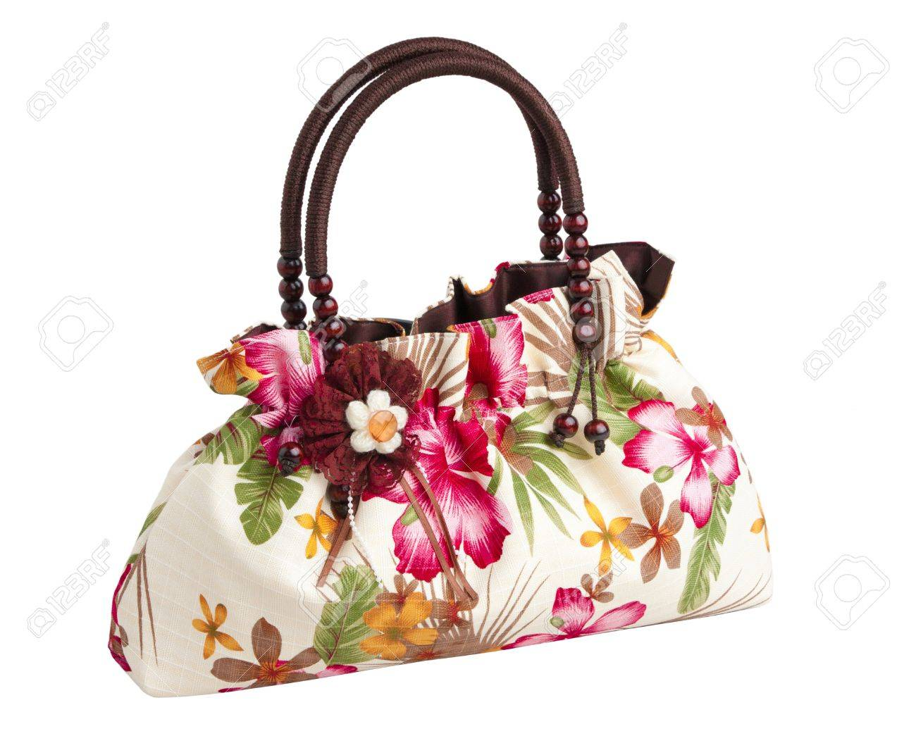 Beautiful lady handbag pattern flower decoration isolated on white Stock Photo - 17584626