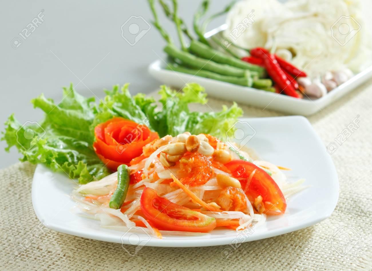 Thai papaya salad a tasty of Thai food menu Stock Photo - 17584741