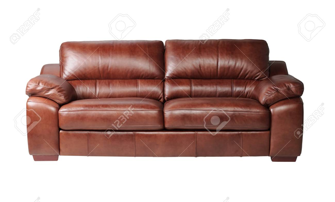 Nice and luxury leather sofa fit your living room isolated on white Stock Photo - 17846996