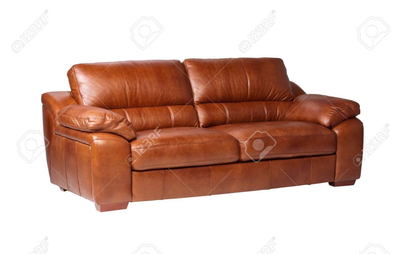 Nice luxury design of genuine leather sofa bench isolated on white Stock Photo - 18208458
