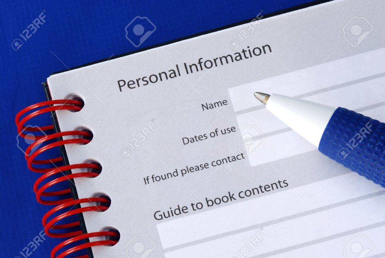 Fill in the personal information in the packet book Stock Photo - 6752905