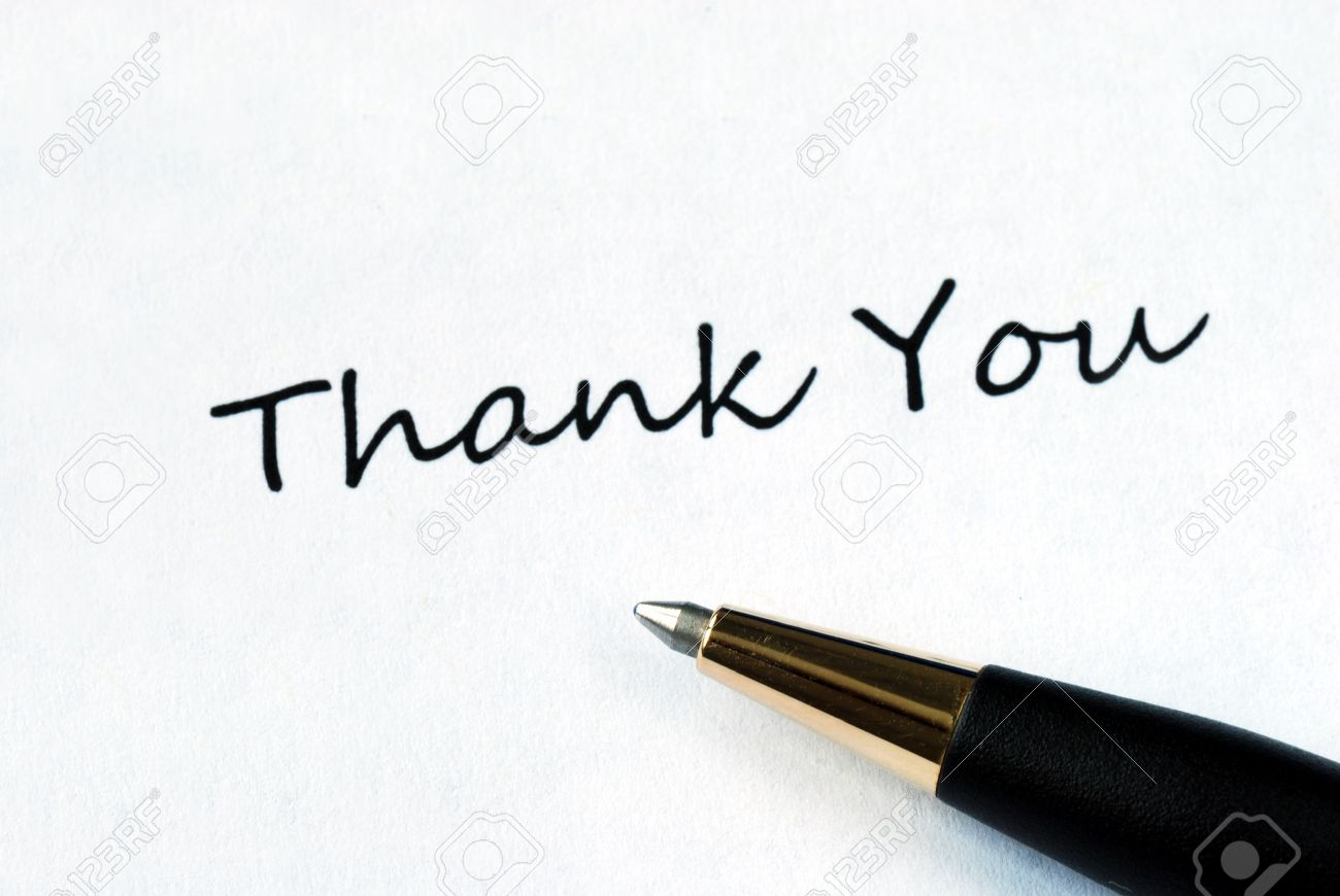Ball pen on white background showing Thank You Stock Photo - 7235625