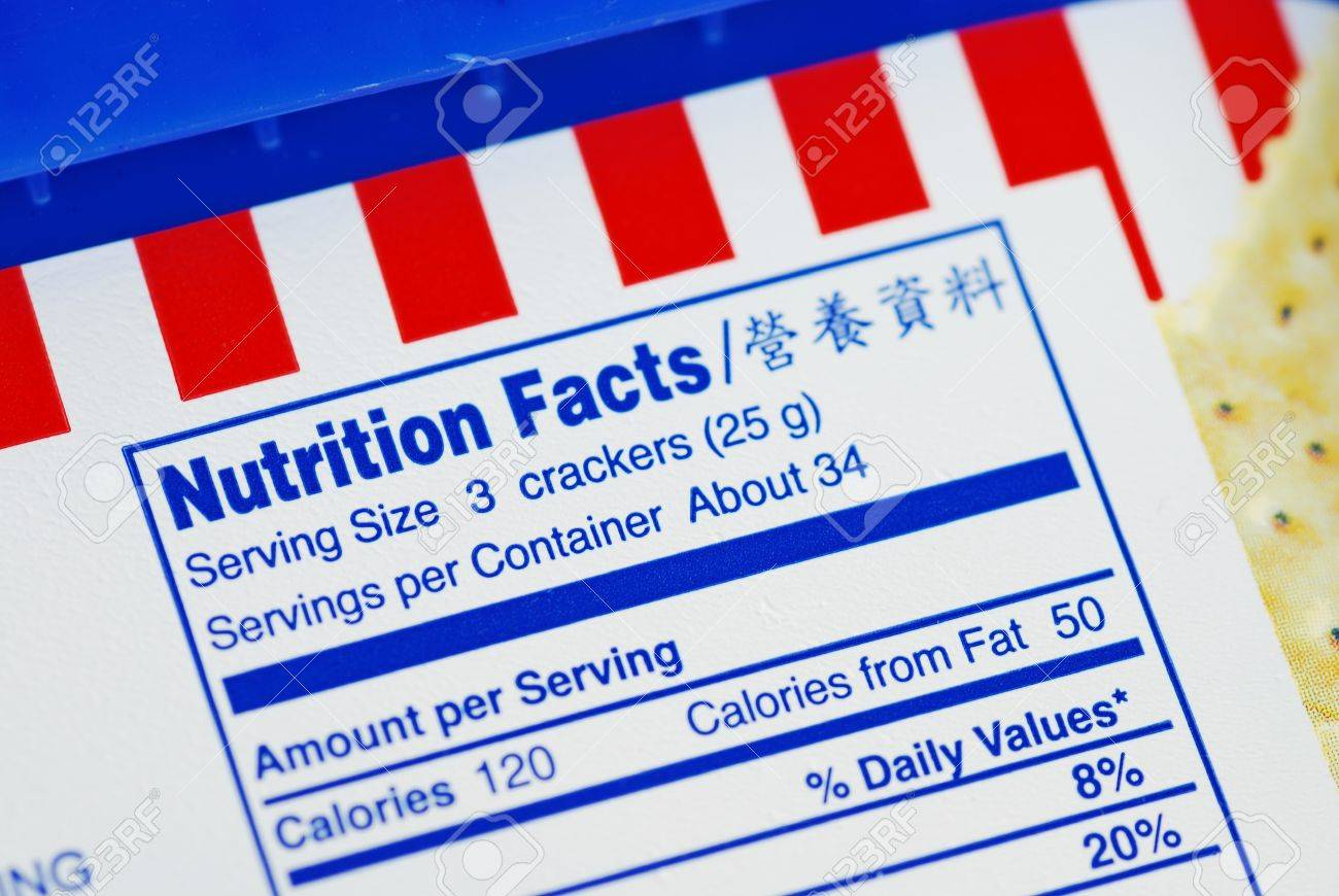 Nutrient Facts of a box of cookies concepts of health diet Stock Photo - 10184057