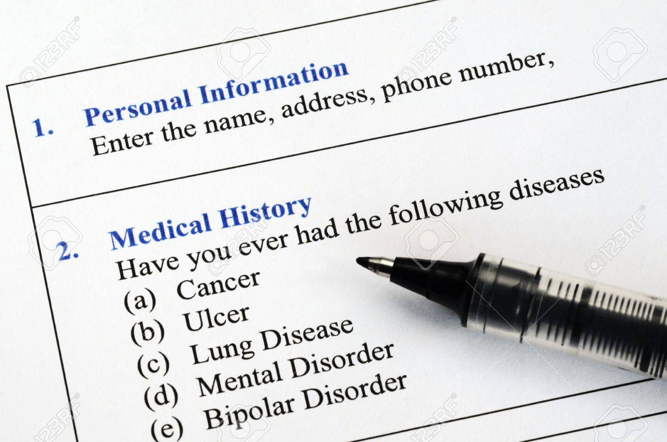 filling the patient personal information and medical history questionnaire stock photo 18214247