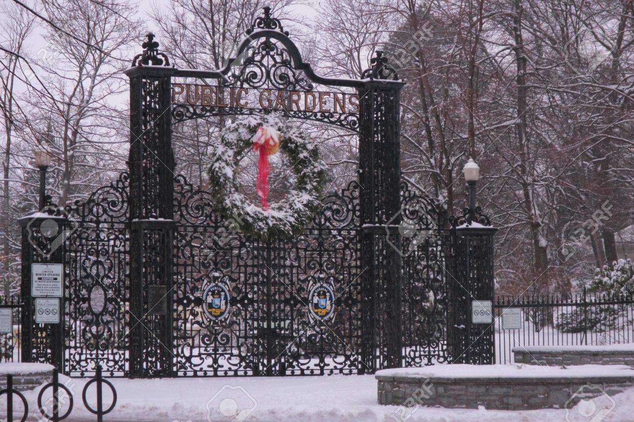 snow covered gate to halifax public gardens in the winter stock