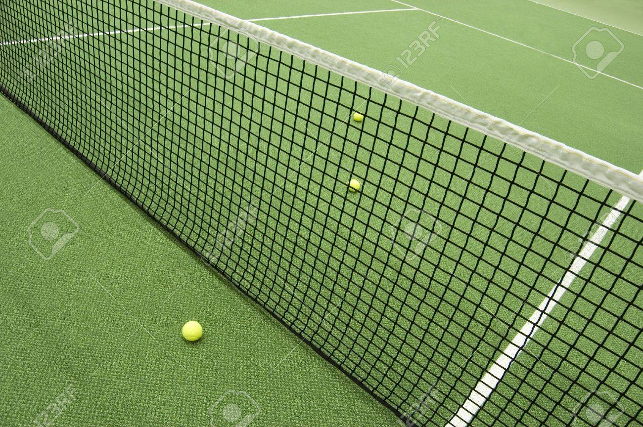 Tennis compositon. Yellow ball, lines and court. Stock Photo - 6075476