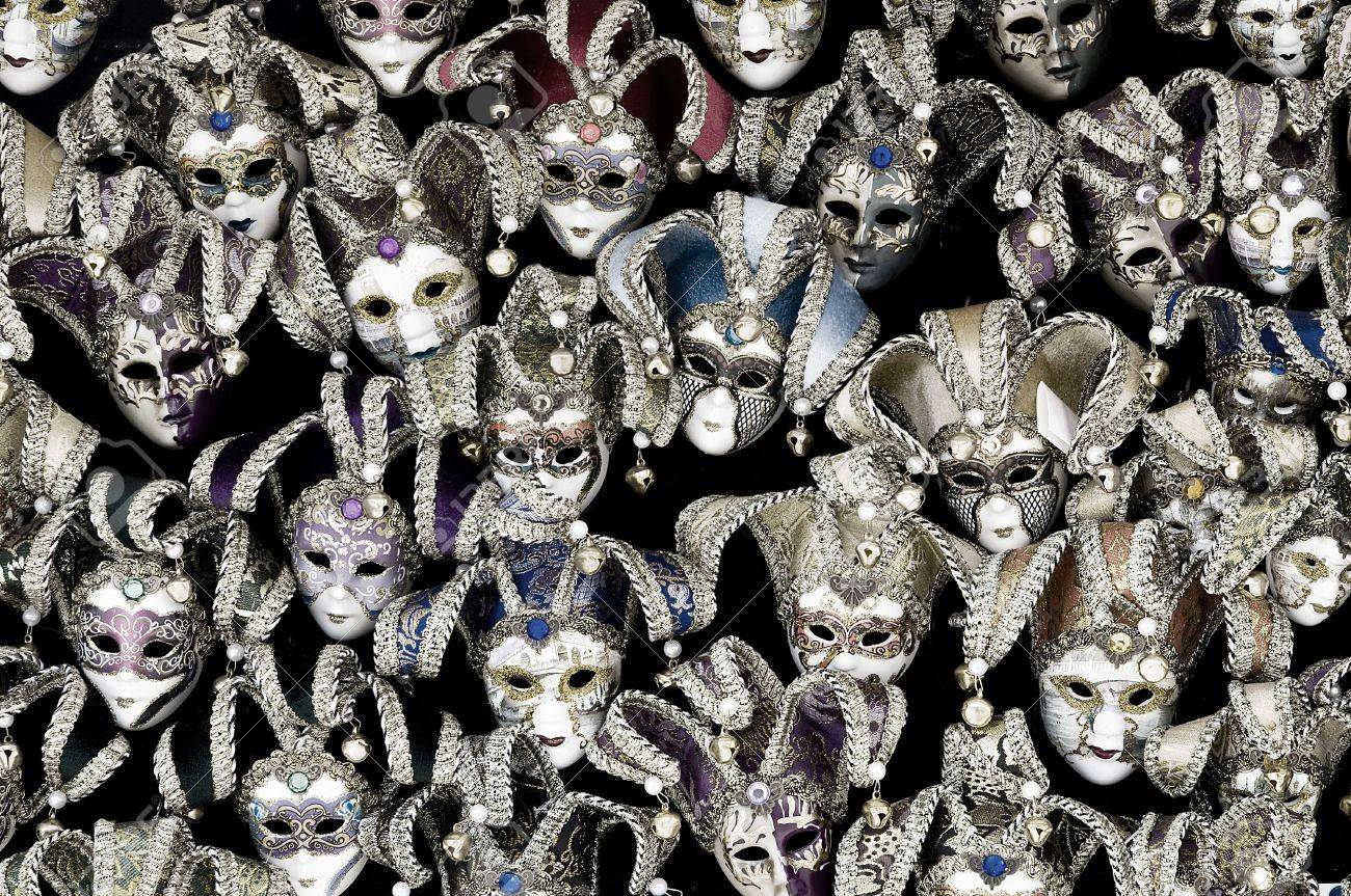 Big amount of traditional venetian carnival masks. Venice, Italy. Stock Photo - 10842692