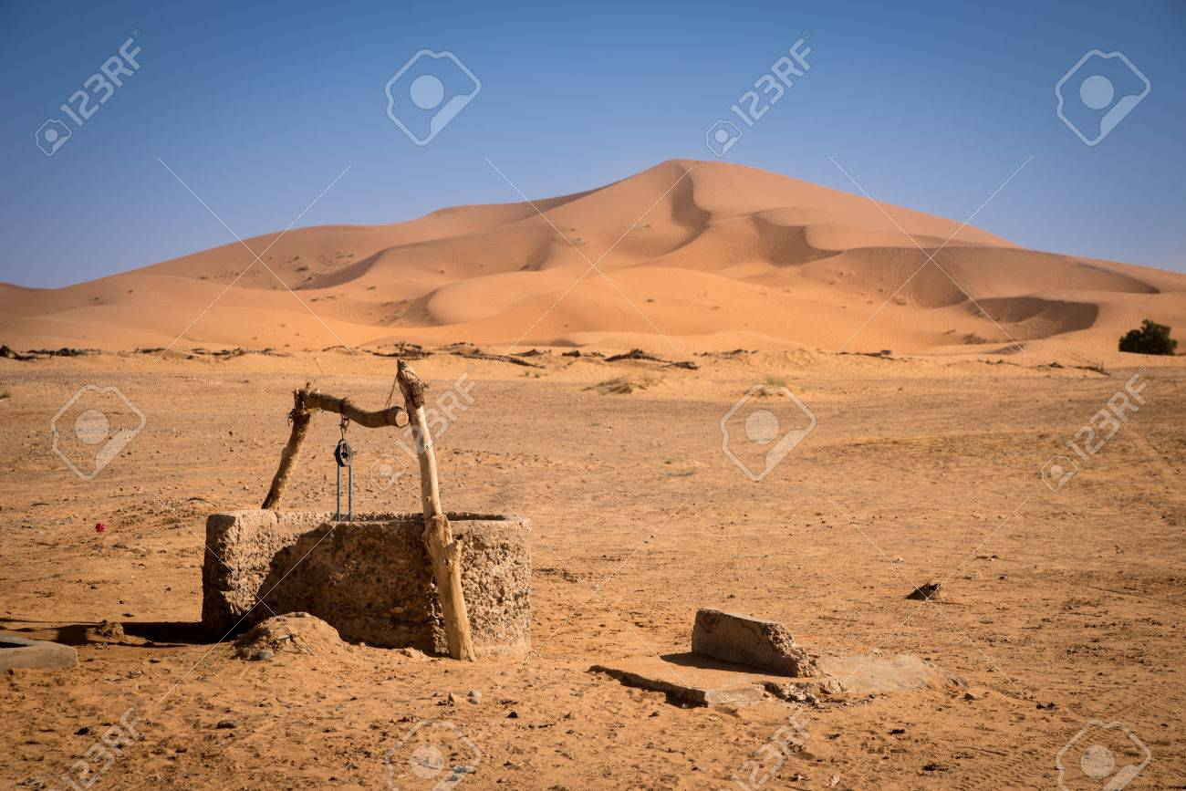 Old well on Sahara Desert, Merzouga, Morocco - 56529496