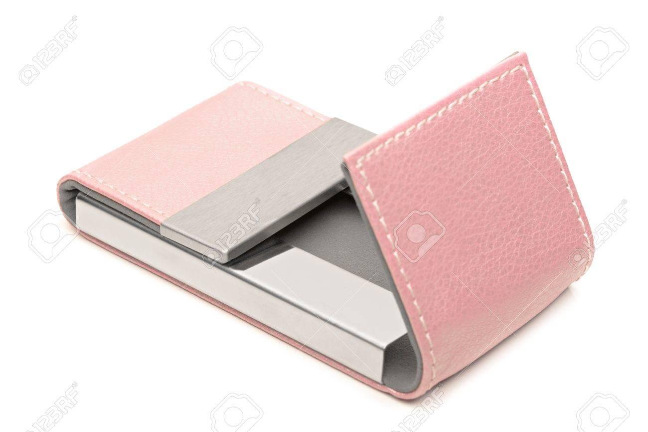 Pink Leather Business Card Holder Stock Photo Picture And Royalty