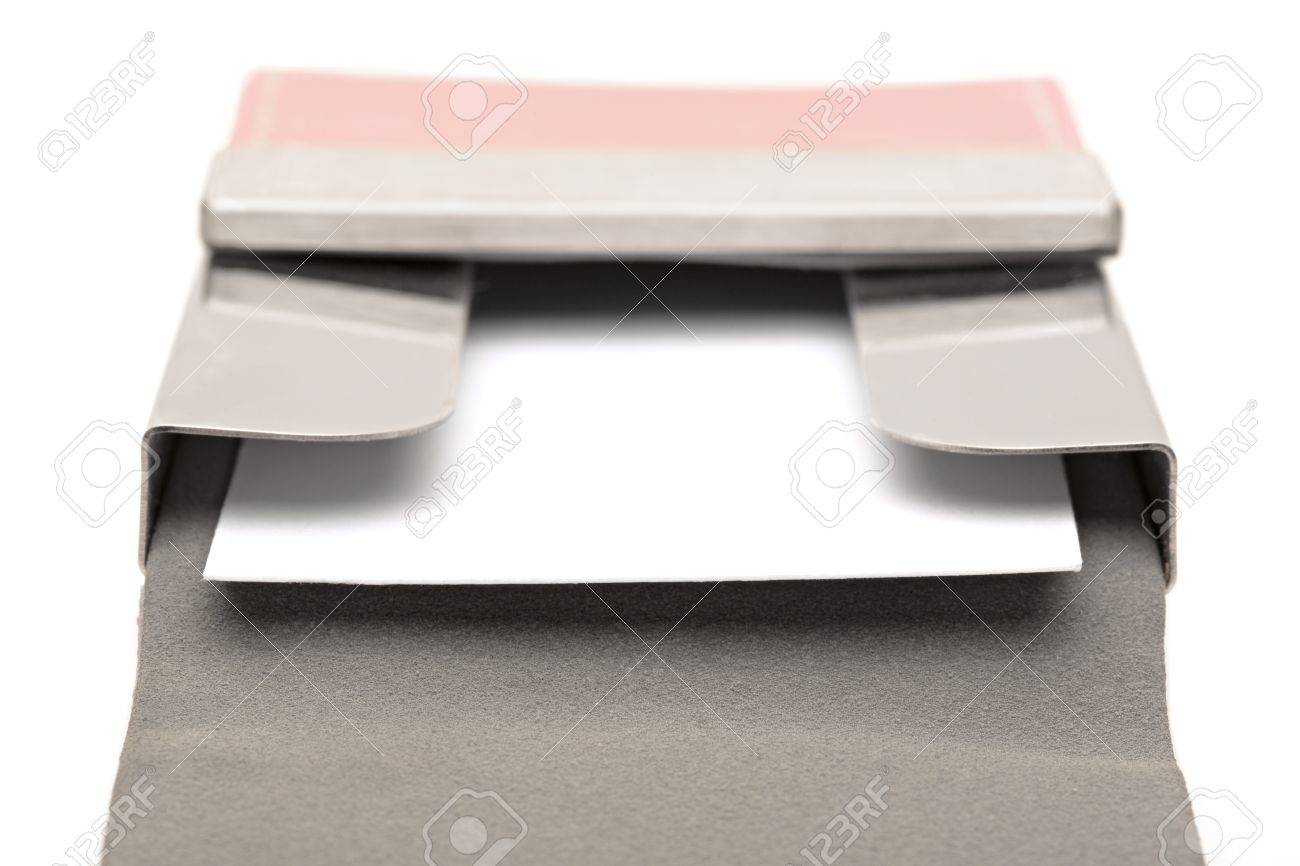 Open Pink Leather Business Card Holder With A White Business.. Stock ...